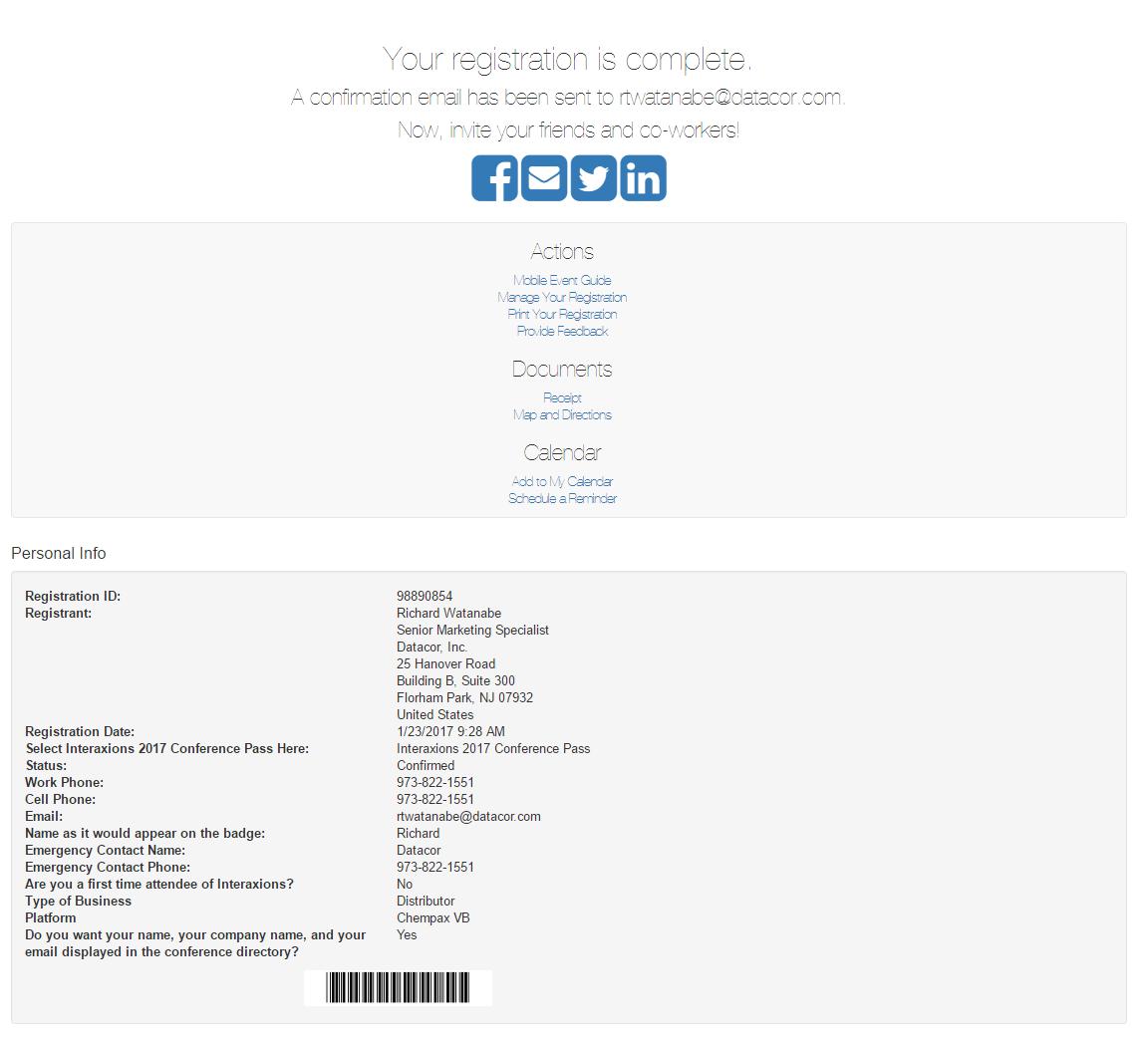 Interaxions 2017 Registration Confirmation