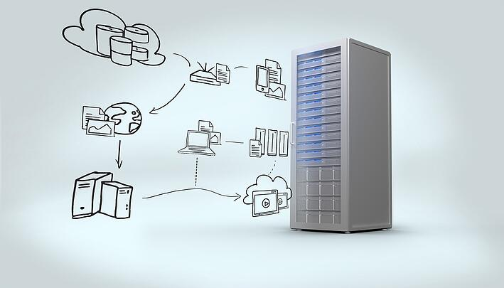Cloud computing doodle against digitally generated grey server tower.jpeg