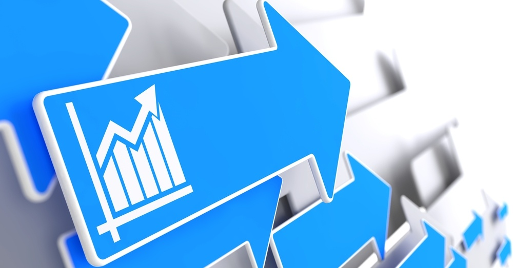 Growth Chart Icon on Blue Arrow on a Grey Background. Business Concept..jpeg